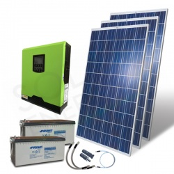 KIT FOTOVOLTAICO OFF-GRID 840 W 24V CON BATTERIE AGM 400 AH