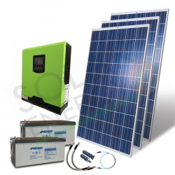 KIT FOTOVOLTAICO OFF-GRID 1.1 KW 24V CON BATTERIE AGM 600 AH