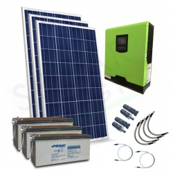 KIT FOTOVOLTAICO OFF-GRID 600 W 12V CON BATTERIE AGM 600 AH