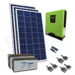 KIT FOTOVOLTAICO OFF-GRID 1.1 KW 24V CON BATTERIE AGM 400 AH