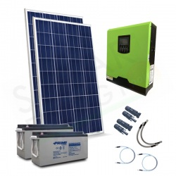KIT FOTOVOLTAICO OFF-GRID 300 W 12V CON BATTERIE AGM 300 AH