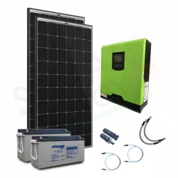 KIT FOTOVOLTAICO OFF-GRID 600 W 24V CON BATTERIE AGM 300 AH